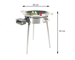 GrillSymbol Paella Frying Pan Set PRO-580 inox