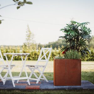 GrillSymbol Cor-Ten Steel Flower Pot Fiora L