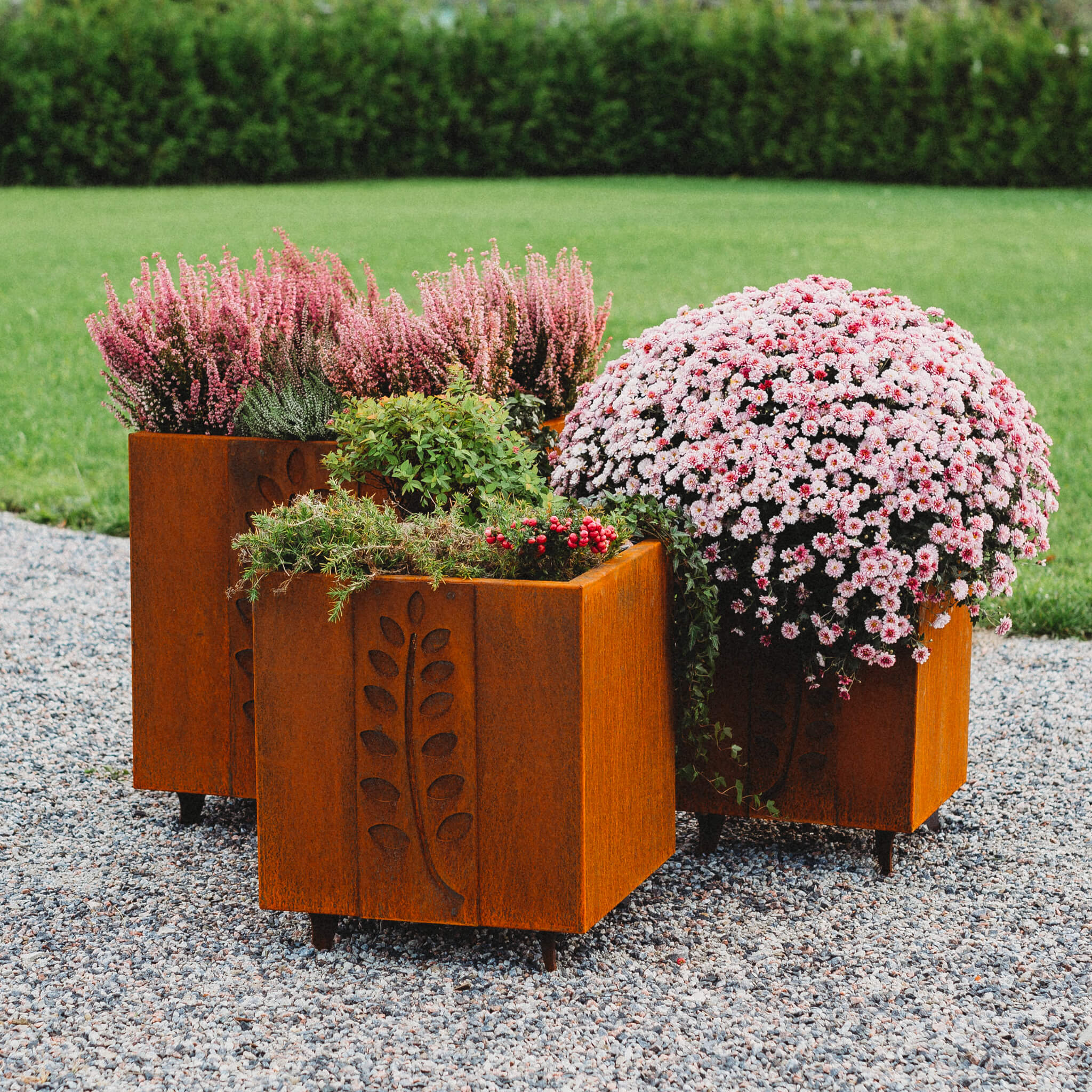 GrillSymbol Cor-Ten Steel Flower Pot Set Fat Ballerina