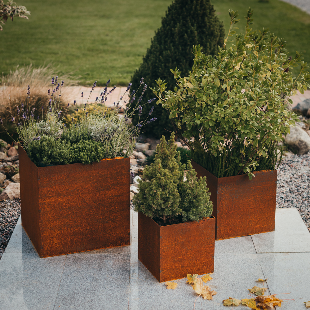 GrillSymbol Cor-Ten Steel Flower Pot Set of 3 Fiora