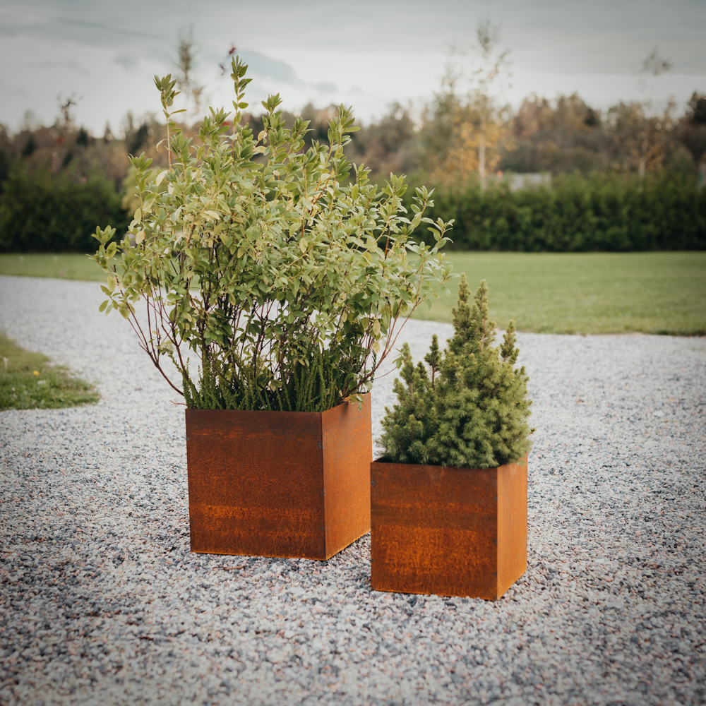 GrillSymbol Cor-Ten Steel Flower Pot Set of 2 Fiora