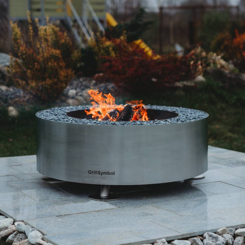 GrillSymbol Stainless Steel Fire Pit Luna Silver