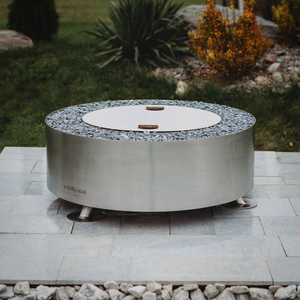 GrillSymbol Stainless Steel Fire Pit Luna Silver