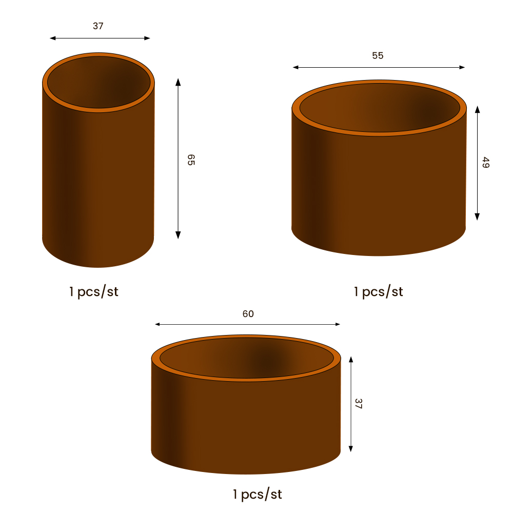 GrillSymbol Cor-Ten Steel Flower Pot Set Clara